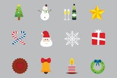 Ensemble de vecteur d'icônes de vacances de Noël Image libre de droits