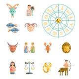 Ensemble de vecteur d'icônes de zodiaque illustration stock