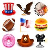 Ensemble de vecteur d'icônes des Etats-Unis Image libre de droits