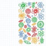 Ensemble de vecteur d'ic?nes de dessin de fleurs d'enfant dans le style de griffonnage Peint, dessin? avec un stylo, sur une feui illustration libre de droits