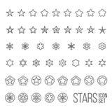 Ensemble de vecteur d'icônes et de pictogrammes d'étoile Image libre de droits