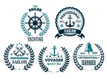 Ensemble de vecteur d'icônes héraldiques nautiques pour la plaisance Photos libres de droits