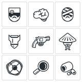 Ensemble de vecteur d'icônes militaires de réadaptation Image libre de droits