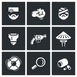 Ensemble de vecteur d'icônes militaires de réadaptation Santé, esprit, contusion, guerre, suicide, Vietnam, salut, diagnostic Images stock