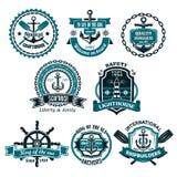 Ensemble de vecteur d'icônes nautiques et marines Photos stock