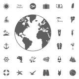 Ensemble de vecteur d'icônes noires de globe illustration stock