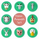 Ensemble de vecteur d'icônes plates de ferme ou d'animaux domestiques Photo libre de droits