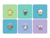 Ensemble de vecteur d'icônes plates de nourriture de petit déjeuner, personnage de dessin animé mignon Image libre de droits