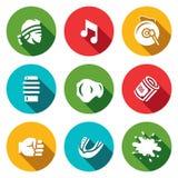 Ensemble de vecteur d'icônes thaïlandaises de Muay Combattant, musique, gong, Makiwara, ceinture de champion, poing d'argent, Cap Images stock