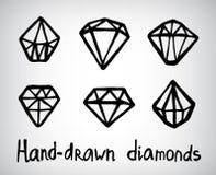 Ensemble de vecteur d'icônes tirées par la main de diamant Image stock