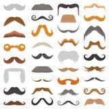Ensemble de vecteur d'illustration faciale masculine de coupe de cheveux de barbe de rétro de coiffure de hippie de moustache ras Image stock