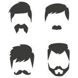 Ensemble de vecteur d'illustration faciale masculine de coupe de cheveux de barbe de rétro de coiffure de hippie de moustache ras Images stock