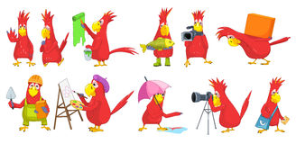 Ensemble de vecteur d'illustrations drôles de perroquets illustration libre de droits