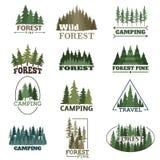 Ensemble de vecteur d'insigne de forêt illustration libre de droits