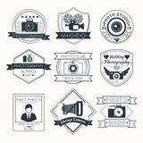 Ensemble de vecteur d'insignes de photographie illustration stock