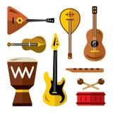 Ensemble de vecteur d'instruments de musique Illustration colorée de bande dessinée de style plat Image libre de droits