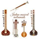 Ensemble de vecteur d'instruments de musique indiens, style plat illustration stock