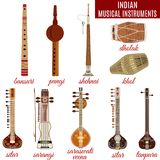 Ensemble de vecteur d'instruments de musique indiens, style plat illustration de vecteur