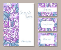 Ensemble de vecteur d'invitations de calibres ou de cartes de voeux avec les roses tirées par la main illustration stock