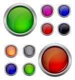 Ensemble de vecteur d'isolement, bouton brillant de Web Beau bouton d'Internet Videz sur le fond blanc Image libre de droits
