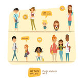 Ensemble de vecteur d'élèves et d'étudiants Images stock