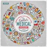 Ensemble de vecteur d'objets médicaux de griffonnage de bande dessinée Photo libre de droits
