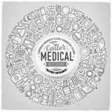 Ensemble de vecteur d'objets médicaux de griffonnage de bande dessinée Image stock
