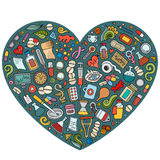 Ensemble de vecteur d'objets médicaux de griffonnage de bande dessinée Images stock