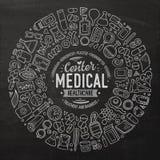 Ensemble de vecteur d'objets médicaux de griffonnage de bande dessinée Photographie stock