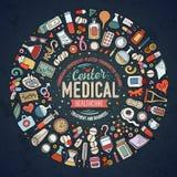 Ensemble de vecteur d'objets médicaux de griffonnage de bande dessinée Images libres de droits