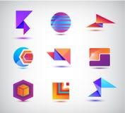 Ensemble de vecteur d'origami abstrait, sphère, logos 3d colorés géométriques illustration libre de droits