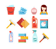 Ensemble de vecteur d'outils de nettoyage Détergents pour la maison ou l'hôtel de nettoyage Photo stock
