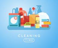 Ensemble de vecteur d'outils de nettoyage Détergents pour la maison ou l'hôtel de nettoyage Photos stock