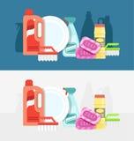Ensemble de vecteur d'outils de nettoyage Détergents pour la maison ou l'hôtel de nettoyage Photographie stock