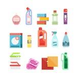 Ensemble de vecteur d'outils de nettoyage Détergents pour la maison ou l'hôtel de nettoyage Images stock