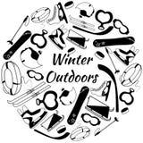 Ensemble de vecteur d'outils des sports d'hiver et de l'équipement de jeux Image stock