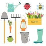 Ensemble de vecteur d'outils de jardinage mignons illustration stock