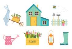 Ensemble de vecteur d'outils de jardinage mignons illustration libre de droits