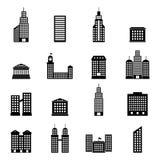 Ensemble de vecteur de bâtiments noirs sur le fond blanc Photographie stock libre de droits