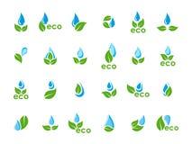 Ensemble de vecteur de baisses de feuilles de vert et d'eau bleue Image libre de droits
