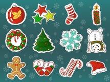 Ensemble de vecteur de bande dessinée de décorations de vacances de Noël Photos libres de droits