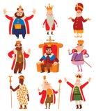 Ensemble de vecteur de bande dessinée de rois illustration libre de droits