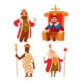 Ensemble de vecteur de bande dessinée de rois illustration de vecteur