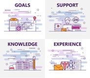 Ensemble de vecteur de bannières avec des buts, appui, la connaissance, éléments de concept d'expérience Ligne mince symboles pla illustration stock