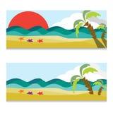 Ensemble de vecteur de bannières horizontales d'océan ou de mer Illustration tirée par la main Images stock