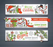 Ensemble de vecteur de bannières horizontales de Noël rouge, vert et blanc Image stock