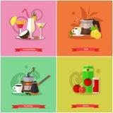 Ensemble de vecteur de bannières populaires de concept de boissons, affiches, style plat illustration stock