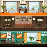 Ensemble de vecteur de bar, affiches intérieures de concept de restaurant, style plat Photos stock
