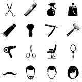 Ensemble de vecteur de Barber Shop Icons Images stock