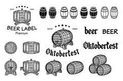 Ensemble de vecteur de barils dans le style de vintage La collection barrels sur un fond blanc - vecteur courant Photos libres de droits